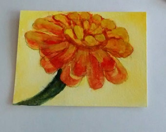 ACEO Original Art,   2.5x3.5  Orange  Zinnia, Collectable Art,  Framable Art
