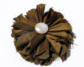 Recycled Vintage Silk Necktie Fabric Flower Clip - Olive Green