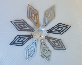 Art Deco inspired laser cut geometric earings