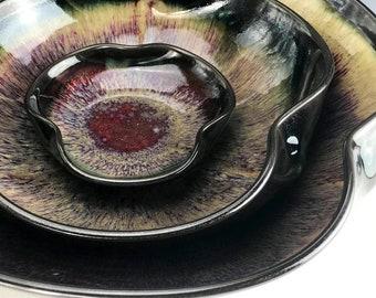 nesting bowls - black - yellow - red - set of 3 bowls - stacking bowls - centerpiece nesting bowl set -serving bowl set -handmade bowls