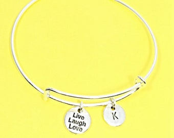 Live Laugh Love Charm Bracelet, Love  Bangle Bracelet, Inspirational Jewelry, Personalized, Custom, Initial Bracelet, Live Laugh Love Gift