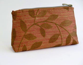 Makeup Bag, Cosmetic Pouch, Toiletries, Jewelry, Leaf and Rust Motif