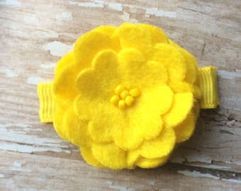 Sunny Yellow Beaded Felt Flower Hair Clip Clippie Babies, Toddlers, Girls