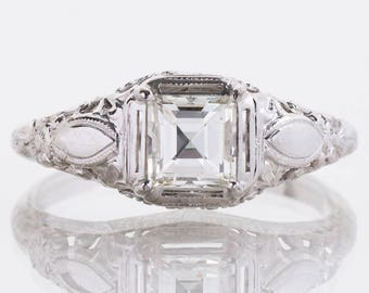 Antique Engagement Ring - Antique 1910's 14k White Gold Square Diamond Engagement Ring