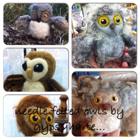 Make Your Own Needle Felted Fluffy Owl Kit DIY With Curly Wool Locks