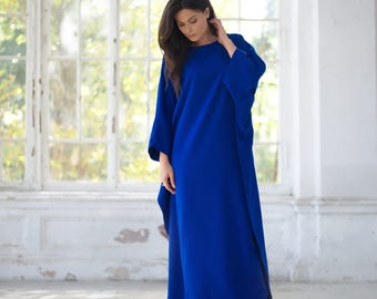 Maxi dress with sleeves, Blue maxi dress, Long dress, Plus size dress, Oversized Dress, Free form dress, Romantic dress, Crepe Dress