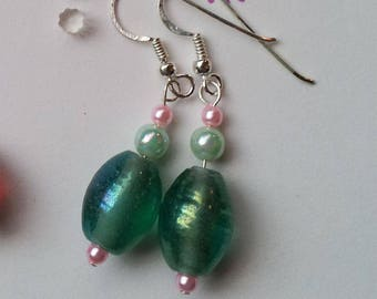 Easter Pink and Green Beaded Glass Dangling Earrings with All Vintage Beads