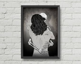 Till death do us part,digital print,poster,skull,skeleton,illustration,black & white,art,gothic,goth