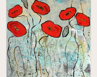 Abstract Red Poppies   Original Artwork