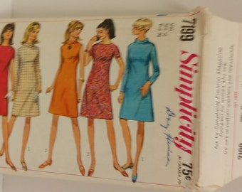 Vintage 1967 Simplicity Pattern 7199 for an A-line Dress in Misses' Size 16 Bust 36