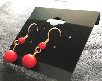 Red & Gold Dangle Earrings