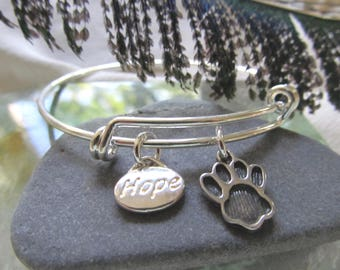 """D.  Kirkup Designs  """"Hope for Paws"""" Silver Plate Bracelet - Let Us Hope That All Paws Will Find The Perfect Home"""