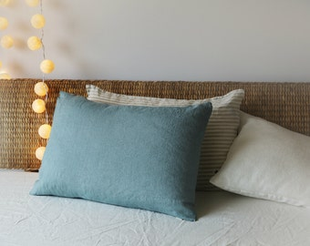 Linen pillow case. Aquamarine. Blue linen bedding. Turquoise. Stone washed linen bedding. Blue pillowcase. Bed linens. Standard size, King