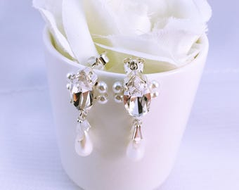 Wedding earrings Crystal and pearls / Wedding drop earrings
