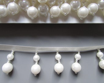 Pearl Beaded Fringe 3cm drop top quality x 1 metre