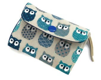 Owls Wallet, small wallets for women, mini wallet owls, Accordion Wallet, Cute Wallet, Card holder, Wallet for Her, Fabric womens wallet