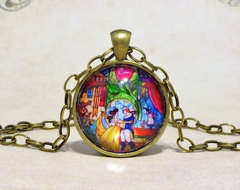 Disney Beauty and the Beast Inspired Necklace, Enchanted Rose, Glass Dome Pendant, Disney Gift, Beauty And The Beast Wedding