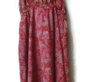 SALE Red Silk Dress Paisley Bandana print S-M