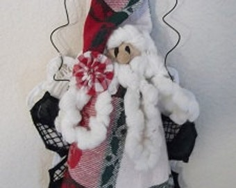 Christmas Decoration - Plaid Santa Claus - Red/Green