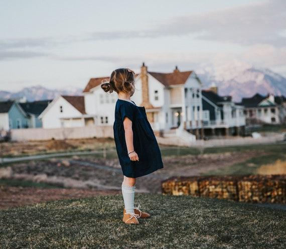 Girls Blue Dress -  Baby Dress - Infant Organic Cotton Top - Toddler Blouse - Twirly Dress -  size 6-18 Months Girls Blouse