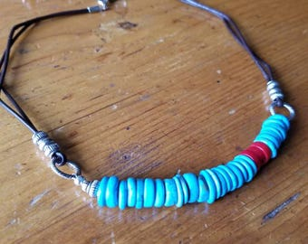 Turquoise and Coral on Leather Necklace
