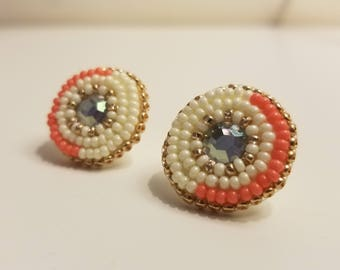 Beaded Studs with Rhinestone Centers (Ivory, Gold, Coral)