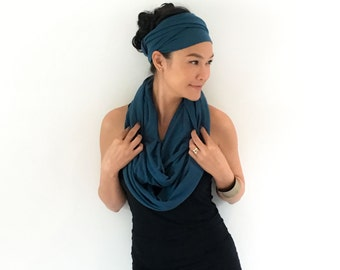 Onuma scarves-  Infinity scarf Black and Navy blue  - Winner scarf