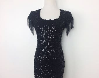 Vintage 80s Dress/ 80s De Laru Black Lace Beaded Mini Dress/ XS S