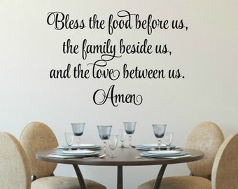 Bless The Food Before Us Decal Kitchen Prayer Wall