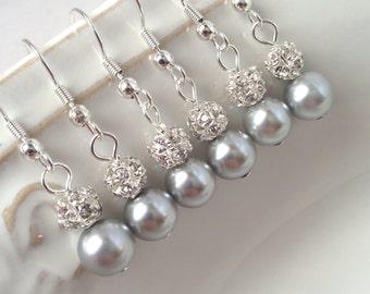 6 Pairs Grey Pearl Earrings, Bridesmaid Earrings, Silver Pearl and Rhinestone Earrings, Pearl and Crystal 0075