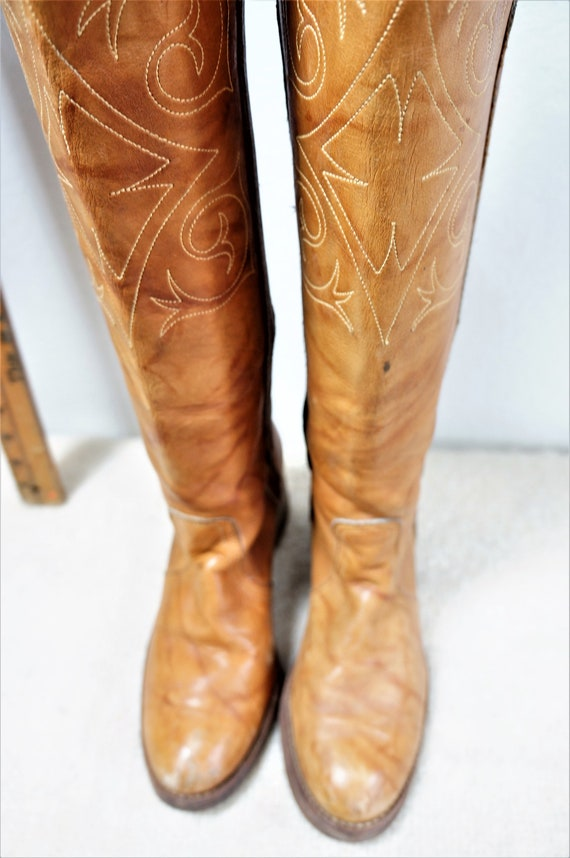Head 8 Lane Tall Hippie Boho Hippie Deer Dexte Boots USA Penny Frye Stitched Leather Embroidered 70s Leather Boot Tall Zodiac Boot nXS8B7Bq