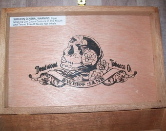 EMPTY Cigar Box for Crafting - Sweet Jane - wooden box with metal clasp