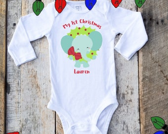 My First Christmas Onesies® For Girls, Personalized Christmas Onesie, Baby Elephant Onesie, 1st Christmas Shirt, Personalized Baby Onesie