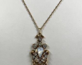 Signed Florenza Pendant Necklace with Opalescent Stones. Free shipping.