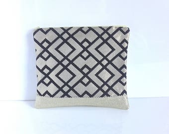 Clutch elegant faux leather gold and black and gold fabric, classy, ceremonies and festive bag pouch, wedding clutch