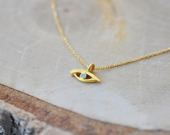Gold Evil Eye Necklace in 100% Sterling Silver, Evil Eye Jewelry, Evil Eye Protection, Sterling Silver Necklace, Gold Evil Eye Pendant