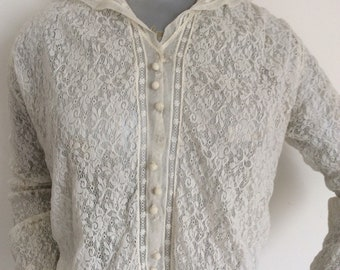 Victorian Edwardian Vintage Lace And Chiffon Silk blouse