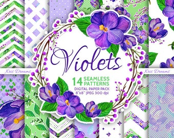 "Violet Flower Seamless Digital Paper High Quality 8""x8"" Scrapbooking Paper Purple Green"