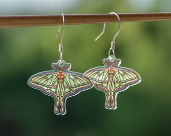 Spanish Moon Moth Earrings - Acrylic Charm Earrings - Titanium or Bronze Wire