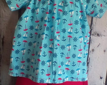 Child's Nautical Two Piece Red & Blue Cotton Summer Outfit Size 4 T, Girl's Beach wear, Girl's Summer Clothes, Outfit for Girls,