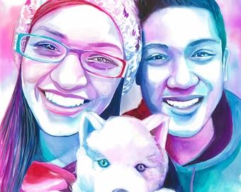 Girlfriend birthday gift ideas, COUPLE with DOG PORTRAIT, anniversary gift ideas for girlfriend, gift for dog lover, dog lover gift, dog art