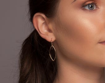 Gold or Silver Leaf Drop Earrings, Gold or Silver Almond Drop Earrings, Gold or Silver Marquise Earrings, Delicate Gold or Silver Earrings