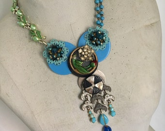 Blue Boho Statement Necklace, Vintage Assemblage Necklace