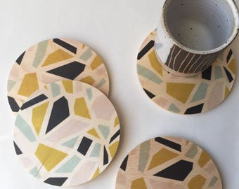 TERRAZZO COASTERS set of 4, wood coasters, modern coasters, terrazzo, absorbent coasters, housewarming gift, hostess gift, midcentury