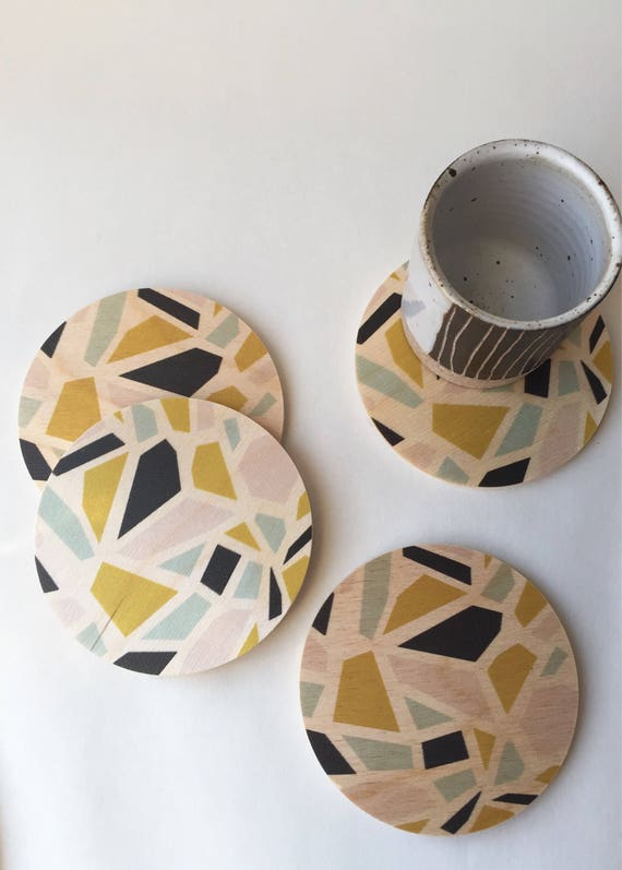 TERRAZZO set of 4 wood coasters