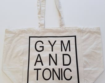 Gym And Tonic Tote Bag, Cotton Tote Bag, Canvas Workout Tote, Gym Tote Bag, Market Bag, Gym And Tonic, Gym and Juice, Reusable Tote, Gym Bag