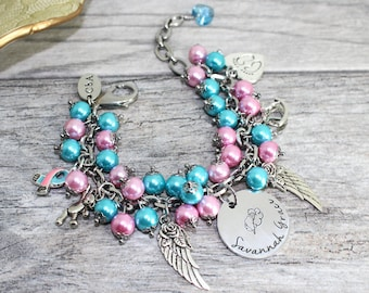 Personalized Pink and Blue Miscarriage Awareness Bracelet in Stainless Steel
