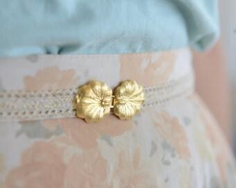 Vintage Style Ivory Waist Belt -  Gold Buckle - Ivory Belt - Wedding Dress Belt - Stretch Belt - Skinny Belt - Wedding Gown Belt