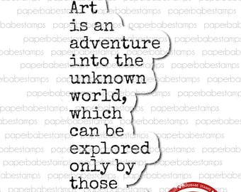 Art Quote 'Art Risks' - Paperbabe Stamps - Red Rubber Cling Mounted Stamp - Typography for Mixed Media, paper crafting & scrapbooking.