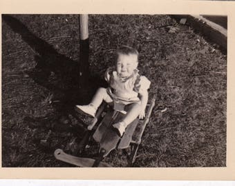 Sledding without Snow - Found Photograph, Original Vintage Photo, Photograph, Old photo, Snapshot, Photography,